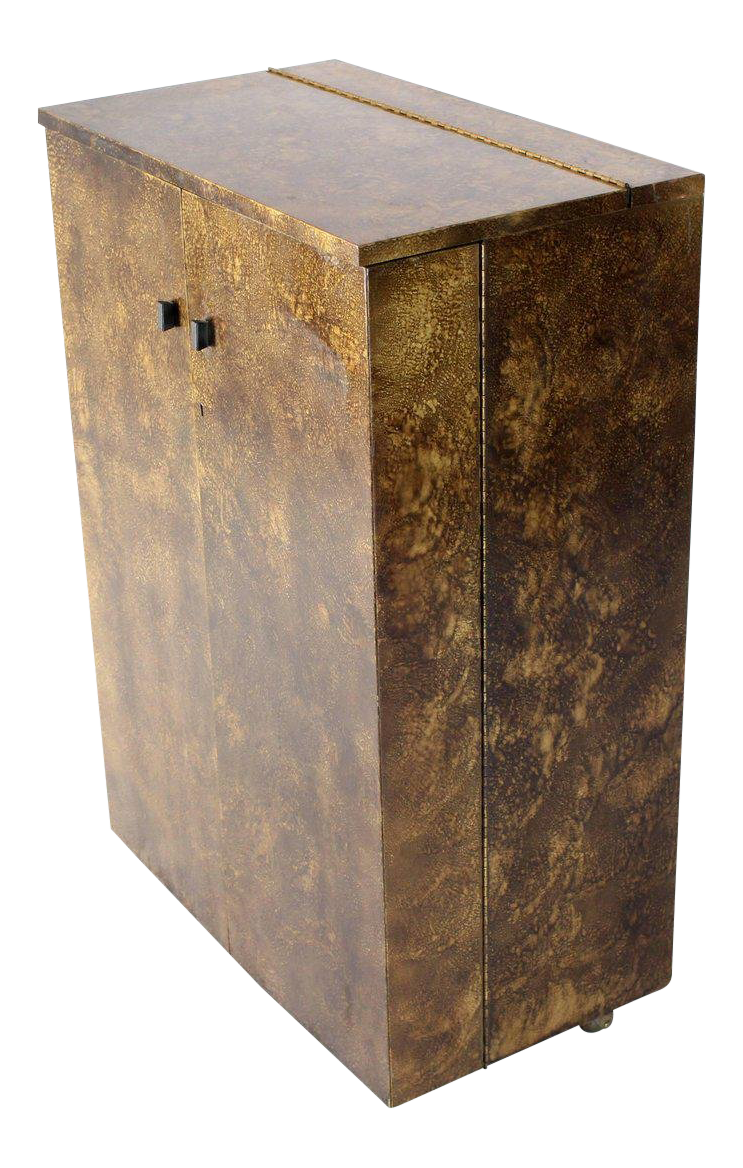 Mid Century Modern Gold Splatter Tortoise Shell Finish Bar Liquor Cabinet  On Wheels