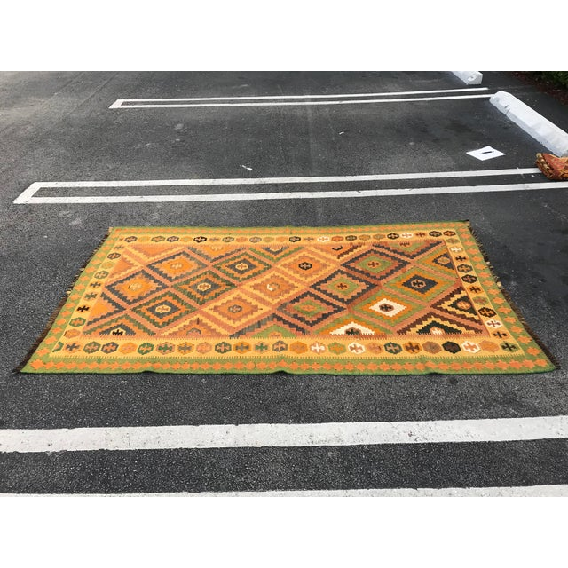 Islamic Qashqai Hand-Woven Kilim Rug, From Iran For Sale - Image 3 of 7