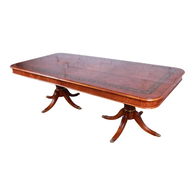 Outstanding 13 Foot Burled and Inlaid Regency Style Extension Dining Table For Sale