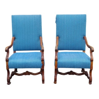 Antique 19th Century French Louis XIV Style Carved Scroll Form Armchairs, C1880 - a Pair For Sale