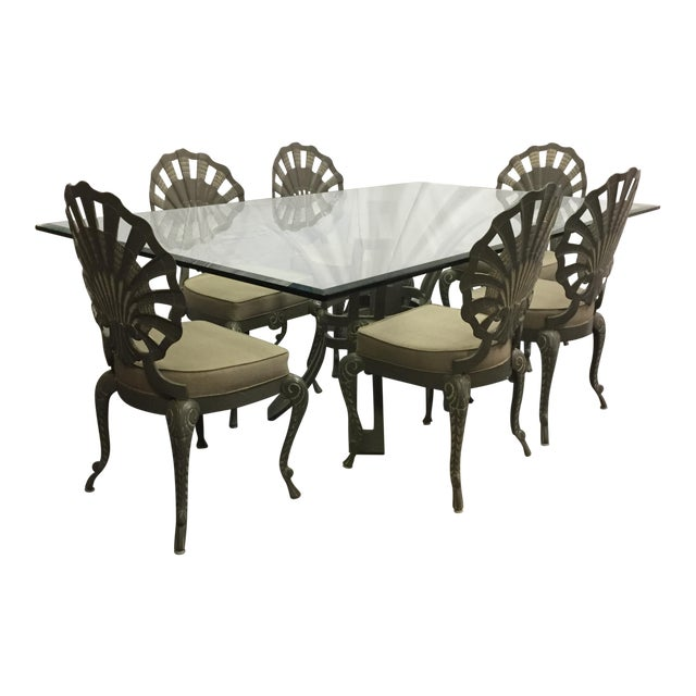 Shell Back Grotto Cast Aluminum Chairs & Glass Top Table - Image 1 of 8