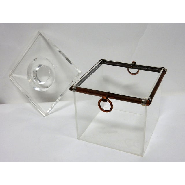 Vintage Cube Brass & Lucite Ice Bucket - Image 2 of 8