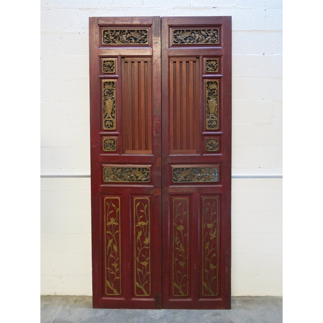 Wood Antique Chinese Hand Carved Wooden Doors - a Pair For Sale - Image 7 of 11