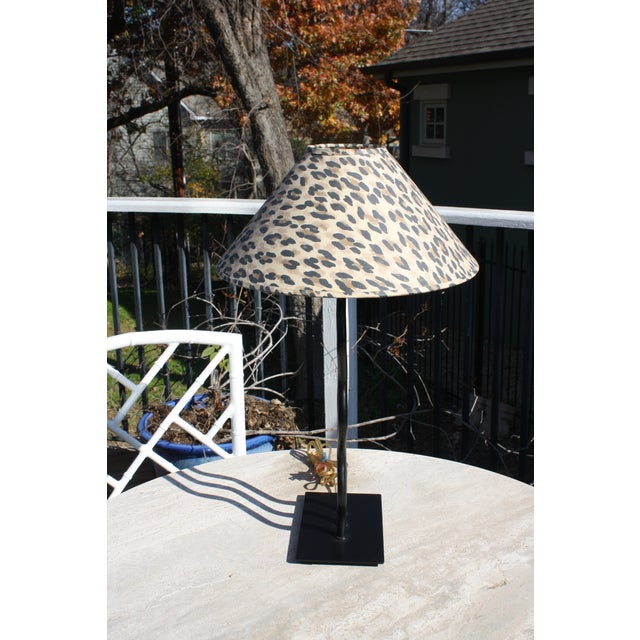 This contemporary modern 1980s wave table lamp comes with this vintage cheetah print shade and would be great for use on a...