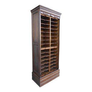 Antique Oak File Cabinet W Rollup Tambour Door
