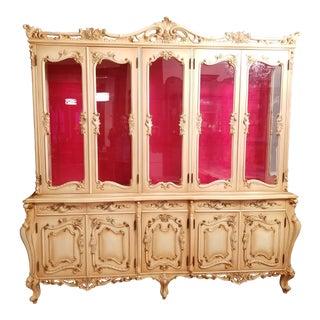 20th Century Italian Ornate Breakfront Hutch For Sale