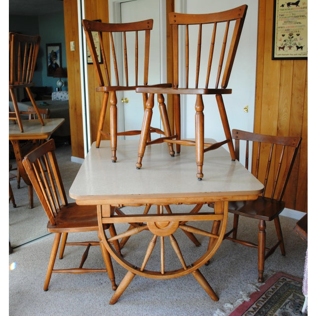 1950's Southwestern Baumritter Ethan Allan Wagon Wheel Dining Set - 5 Pieces For Sale - Image 13 of 13