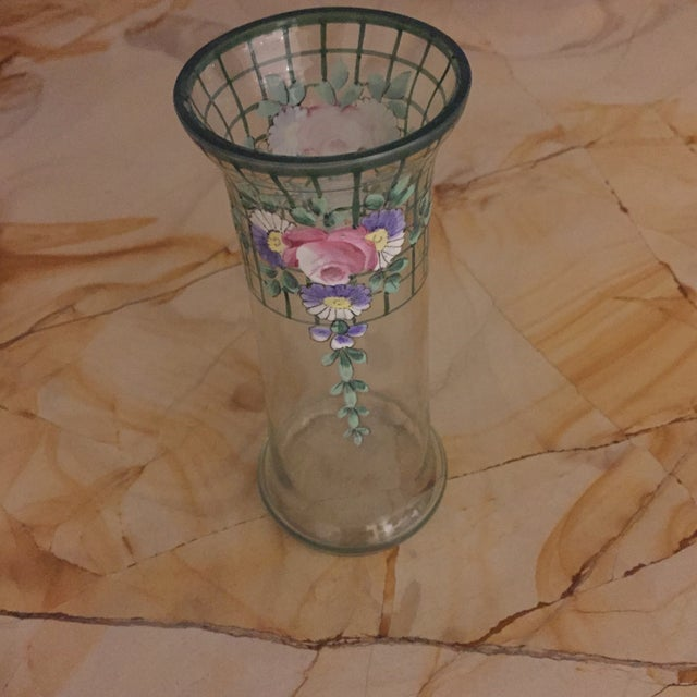 Antique Bohemian Hand-Painted High Enamel Glass Vase For Sale - Image 9 of 13