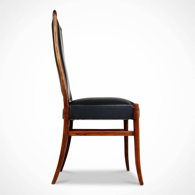 T.H. Robsjohn Gibbings Exotic Jacaranda and Black Leather Dining Chairs, Set of Four, Brazil Circa 1970 For Sale - Image 4 of 11