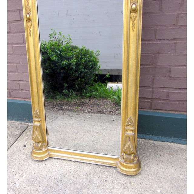 Mid 19th Century 1820 Antique Renaissance Revival Gold Gilt Pier Mirror With Bust of Columbia For Sale - Image 5 of 7