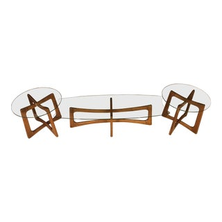 1960s Mid-Century Modern Adrion Pearsall Coffee Table and End Table Set - 3 Pieces For Sale