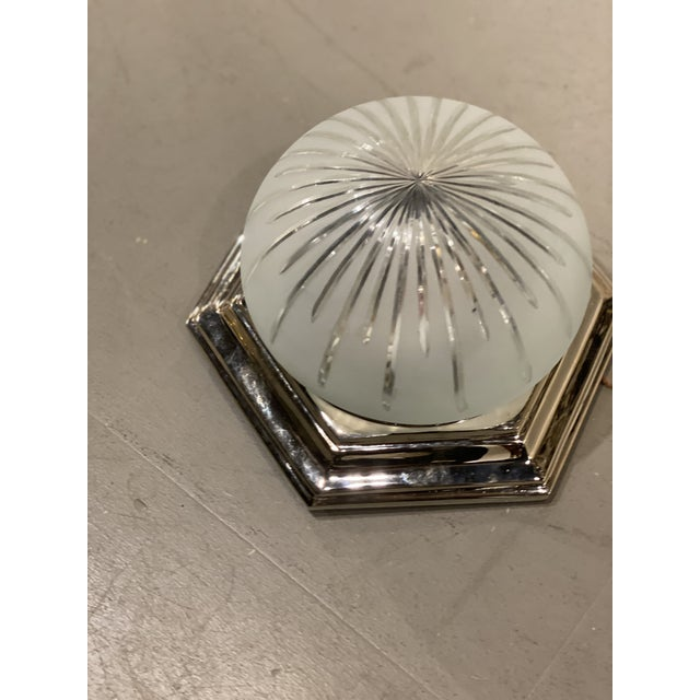 American 1940s Nickel Plated Light Fixture For Sale - Image 3 of 6