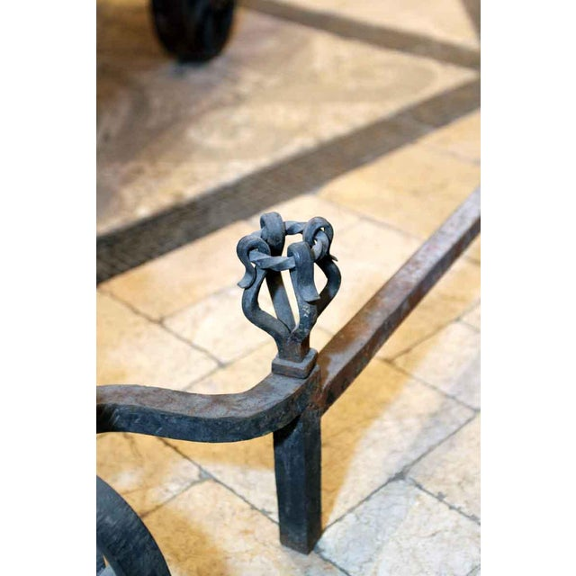 Heavy Wrought Iron Andirons - A Pair - Image 4 of 7