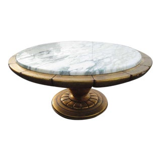Gold Leaf Italian Marble Top Coffee Table For Sale