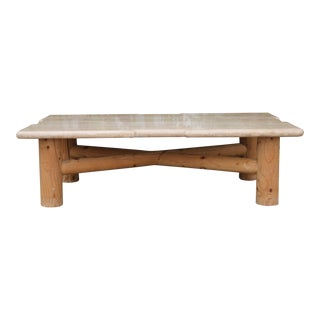 Travertine coffee table w/ wood base