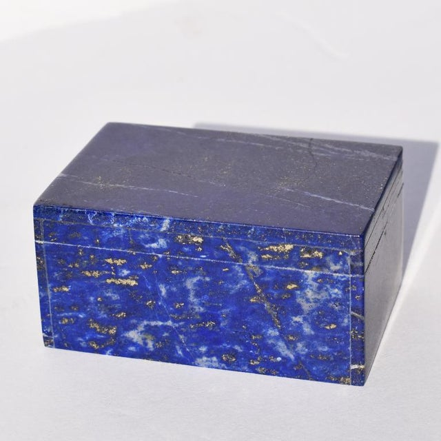 Stone Blue Lapis Lazuli and Marble Stone Rectangular Jewelry or Trinket Box For Sale - Image 7 of 7
