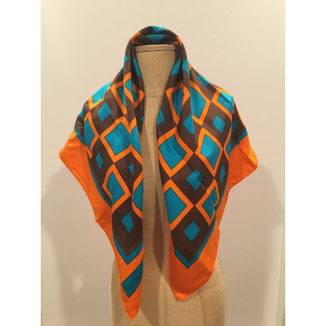 Yves Saint Laurent 1970's Rare Collectible Yves Saint Laurent Graphic Silk Scarf For Sale - Image 4 of 5