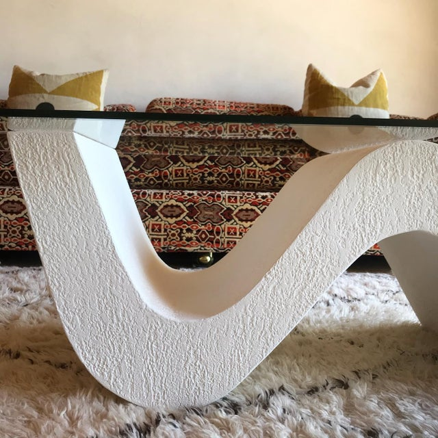 White Vintage Post Modern Sculptural Plaster Wave Coffee Table For Sale - Image 8 of 12