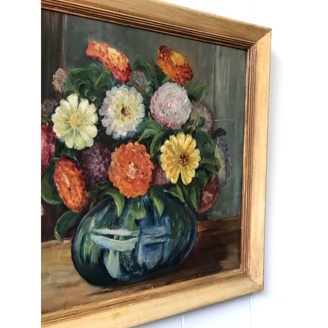 Blue Bright and Cheerful 1940s Floral Still Life For Sale - Image 8 of 13