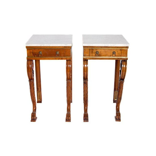A Pair of Charles X Style Mahogany Tables With White Marble Tops For Sale - Image 13 of 13