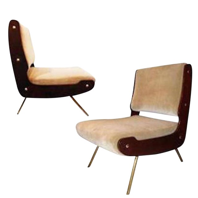 Gianfranco Frattini Pair of Slipper Chairs For Sale