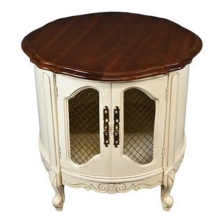 Vintage French Provincial Louis XVI Of White End Table ~ Side Table ~ Liquor Cabinet For Sale