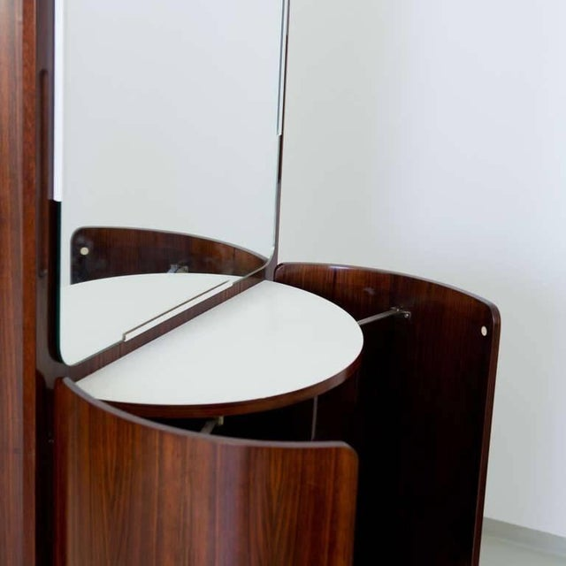Round Italian Swivel Fold-Out Wardrobe or Vanity in Wood by Fiarm, 1960s For Sale - Image 4 of 5