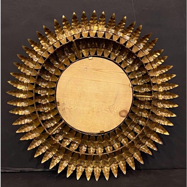 Metal French Gilt Metal Sunburst Mirror For Sale - Image 7 of 13