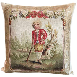 18th Aubusson Tapestry of a Man with a Spaniel Pillow For Sale