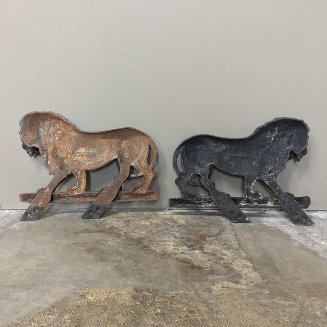 Pair 19th Century Architectural Cast Iron Lion Statues For Sale - Image 11 of 12