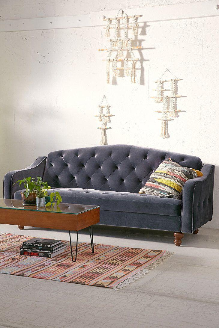 Ava Velvet Tufted Sleeper Sofa Chairish