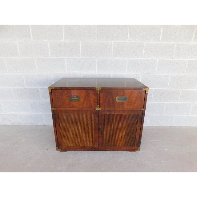 Features Quality Solid Construction - Campaign Style with Brass Hardware, 2 Dovetailed Drawers - Approx 40 years old )...