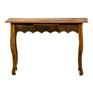 Antique Reclaimed Peroba Wood Console Table With Scalloped Apron