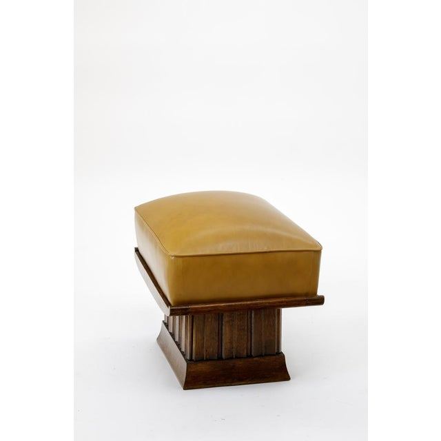 Alfred Porteneuve Superb Stool with an Oak Carved Base and Leather Cover.
