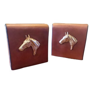 English Equestrian Saddle Leather Bookends - a Pair For Sale
