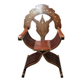 Syrian Brass Inlaid Savonarola Chair For Sale