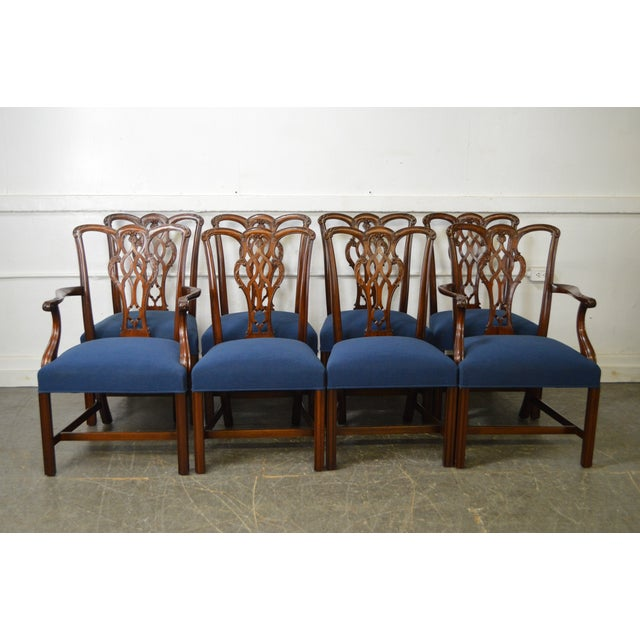 Chippendale Style Set of 8 Custom Mahogany Dining Chairs - Image 10 of 11