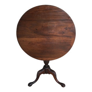 Antique Solid Mahogany Chippendale Style Tilt Top Table For Sale