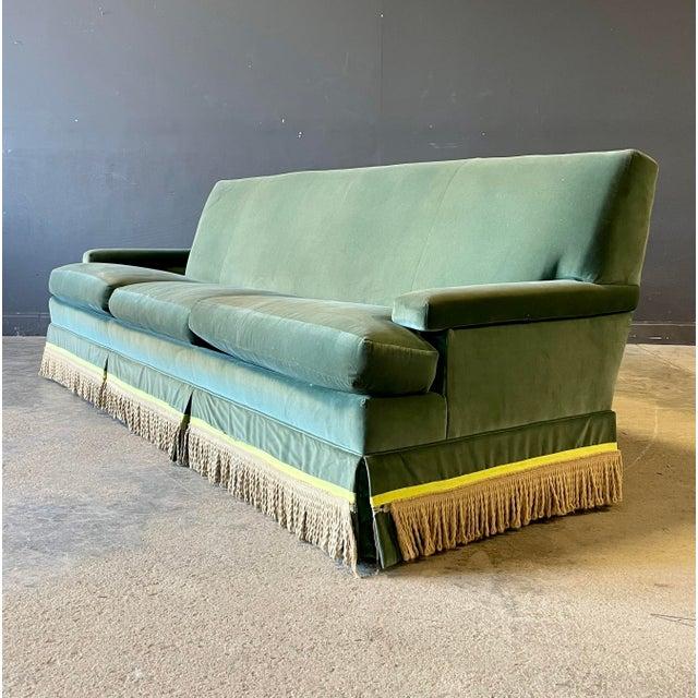 Mid 20th Century Vintage Custom Green Velvet Sofa For Sale - Image 5 of 5