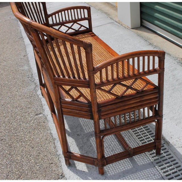 Wood Vintage Mid Century Bamboo Rattan Pavilion Brighton Chinoiserie Chippendale Caned Settee For Sale - Image 7 of 10