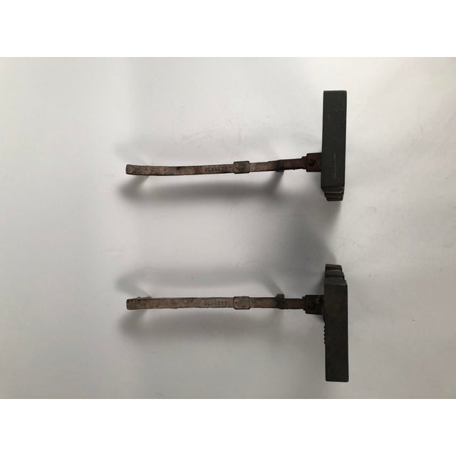Black 1940s Donald Deskey Andirons With Matching Firetool Set - Set of 6 For Sale - Image 8 of 13