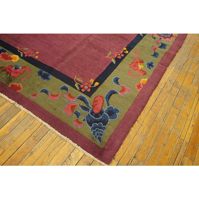 Art Deco 1920s Antique Chinese Art Deco Rug-9′2″ × 11′8″ For Sale - Image 3 of 8