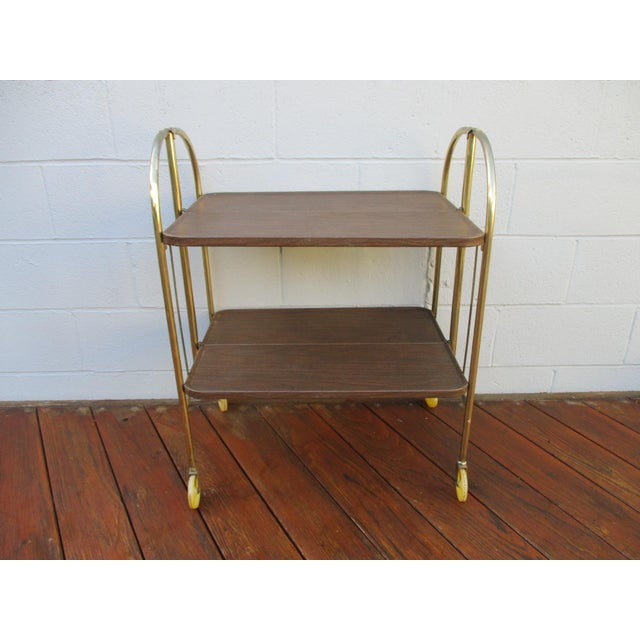 Folding Metal Bar Cart - Image 2 of 10