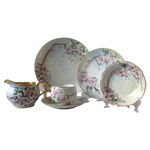 Antique Wild Rose Bavaria Porcelain Dishes - S/29 For Sale