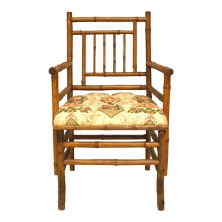 Bamboo Floral Upholstered Arm Chair For Sale