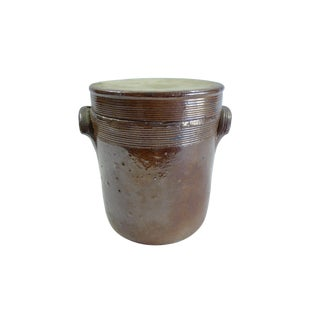 Vintage French Stoneware Confit Pot With Lid For Sale