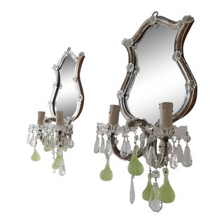 1920 Chartreuse Murano Glass Figs Mirror Sconces Set of Four For Sale