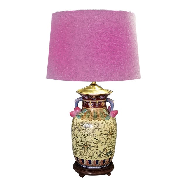 1960s Vintage Famille Rose Floral Chinese Table Lamp With Peaches For Sale - Image 11 of 12