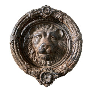 Cast Iron Lion's Head Door Knocker For Sale