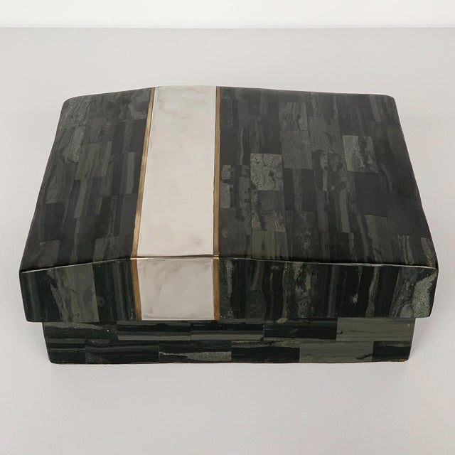Brass Karl Springer Tessellated Stone, Chrome and Brass Box For Sale - Image 7 of 13